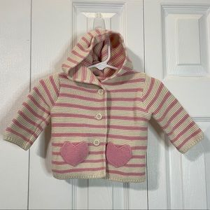 Baby Gap pink stripe sweater 0-3 Mo with ears